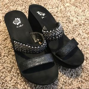Yellow Box Black and Jeweled Sandals